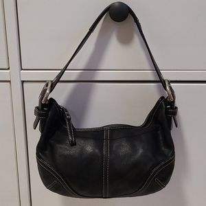 Vintage Coach mini black leather hobo bag.